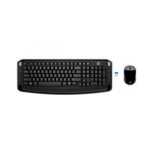 Oferta de Kit Teclado e Mouse Sem Fio HP 300 - ABNT2 - Com Teclas Multimídia - 1600dpi - 2.4GHz - Preto - 3ML04AA por R$229,9