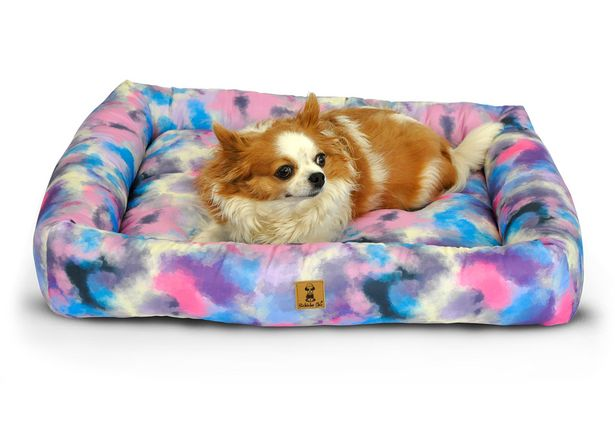 Oferta de Cama Estampa Tie-dye Para Cachorro e Gato Pet - P - Pequeno - Azul - Bichinho Chic por R$55