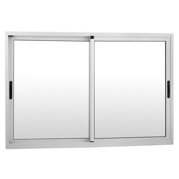 Oferta de Janela de Correr Alumínio 2 Folhas Com Alizar e Contra Marco MGM Project 100cmx120cm Vidro Liso Incolor Branco por R$1289,9
