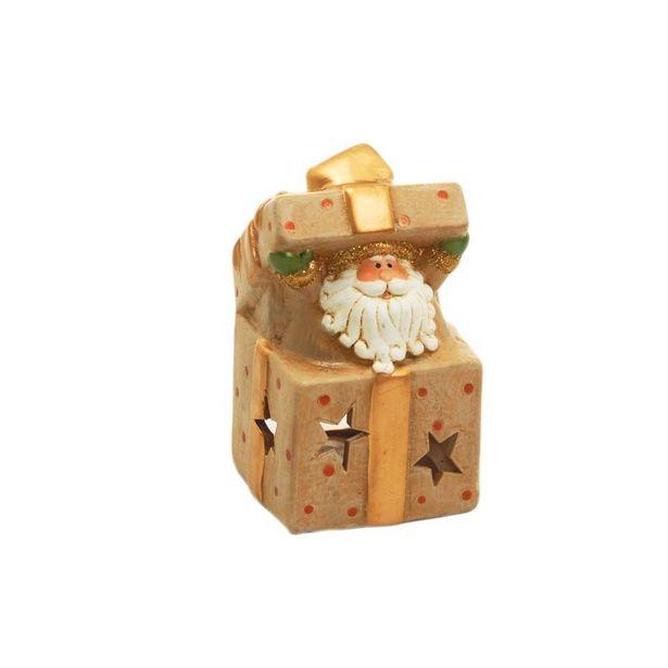 Oferta de Enfeite Caixinha Presente Papai Noel Natal 9x5cm Bege por R$28,9