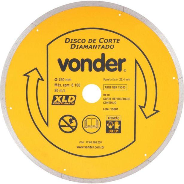 Oferta de Disco Diamantado Liso Para Porcelanato 250 Mm - Vonder por R$229,9