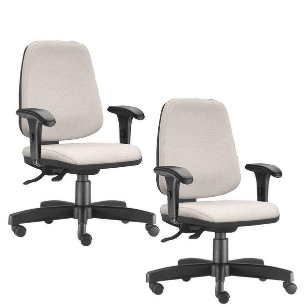 Oferta de Kit 02 Cadeiras Giratórias Job Diretor Executiva Linho Bege - Lyam Decor por R$1299,9