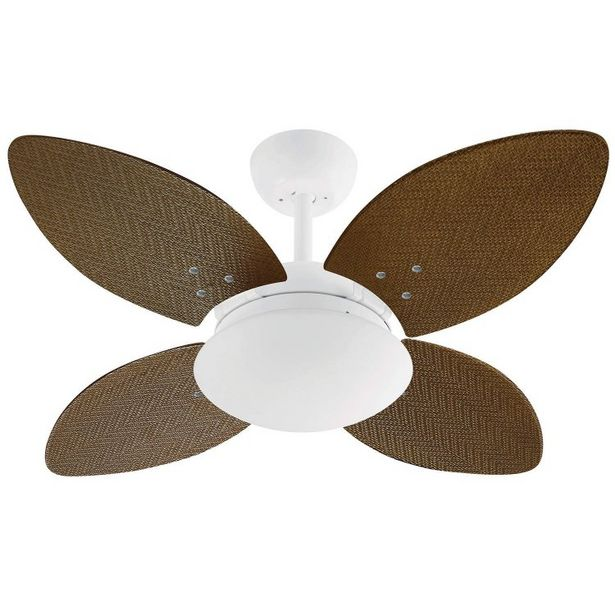 Oferta de Ventilador de Teto 4 Pás e Luminária Volare Mini Pétalo Palmae Volare Tabaco por R$939,9