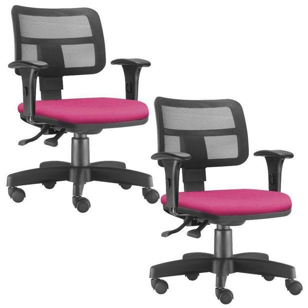 Oferta de Kit 02 Cadeiras Giratórias Zip Executiva Ergonômica Escritório Suede Pink- Lyam Decor por R$1399,9