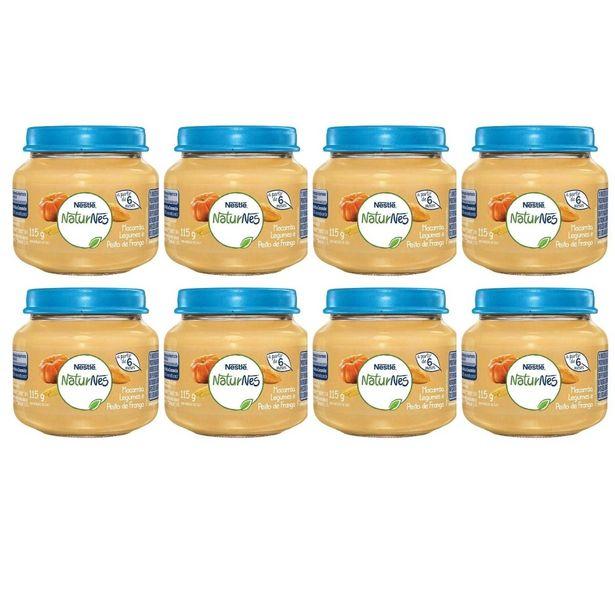 Oferta de Kit Com 08 Potes Papinha Bebês Macarrão Legumes e Peito de Frango 115g por R$61,58