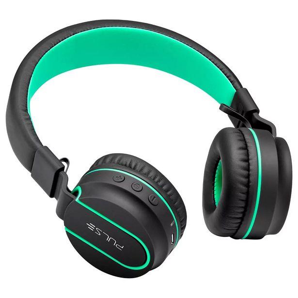 Oferta de Headphone Bluetooth Pulse Fun Series, Sem Fio, Com Controle de Volume, Hastes Ajustáveis e Dobráveis, Preto e Verde - PH215 por R$229,9