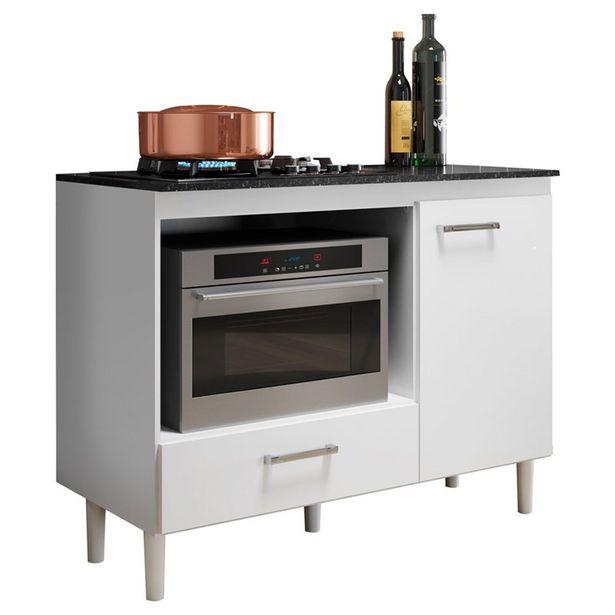 Oferta de Balcão Multiuso Para Cooktop E Forno Microondas Fit Branco - Nicioli por R$226,9
