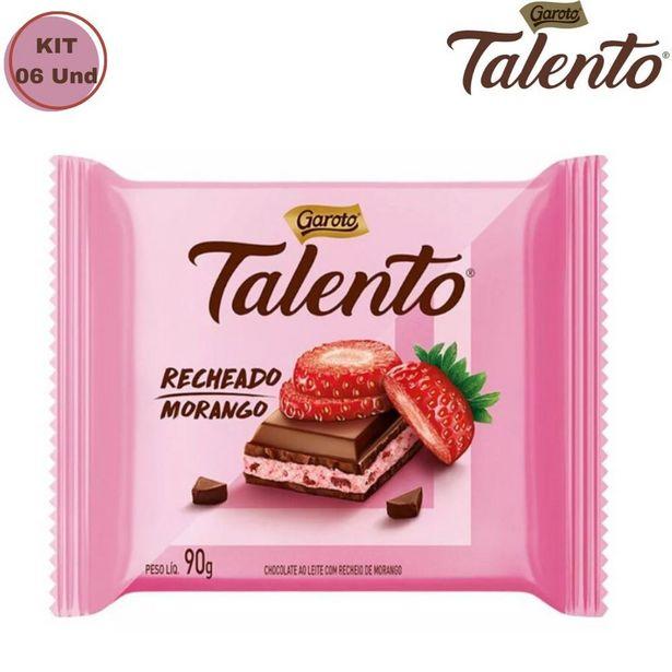 Oferta de Kit Com 06 Barras Chocolate Talento Morango Garoto 90g por R$47,58