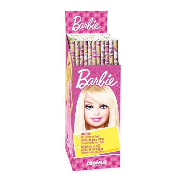 Oferta de 3 Folhas Poli Transp. Barbie Papel Presente por R$6,9