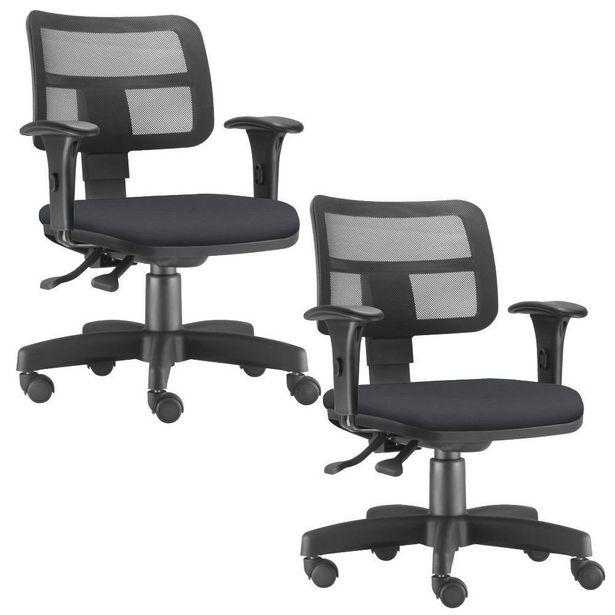 Oferta de Kit 02 Cadeiras Giratórias Zip Executiva Ergonômica Escritório Suede Preto - Lyam Decor por R$1399,9