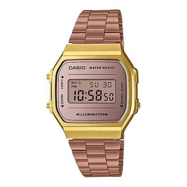 Oferta de Relógio Unissex Casio Vintage A168WECM-5DF - Rosê/Dourado por R$359,9