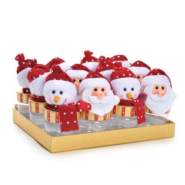 Oferta de Mini Potes Papai Noel Boneco De Neve Vermelha por R$179,9