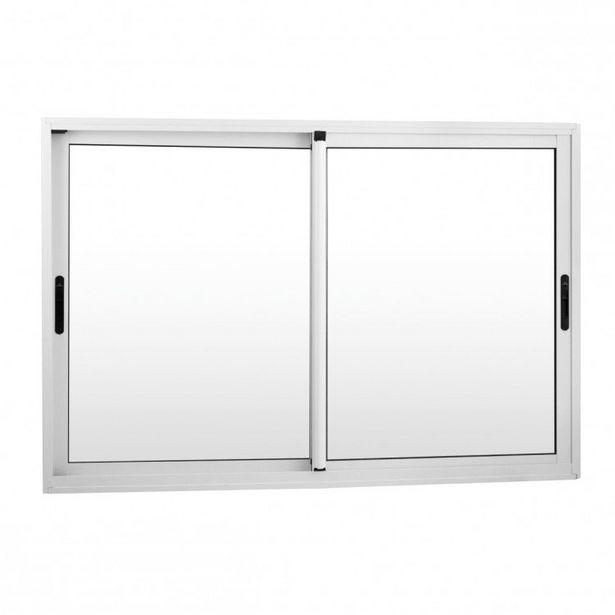 Oferta de Janela de Correr Alumínio 2 Folhas Móveis e Alizar MGM Project 100cmx150cm Vidro Mini Boreal Branco por R$1289,9