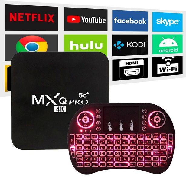 Oferta de Conversor MXQ 4k 4GB/64GB HDMI/WI-FI Android 10.0 + Mini Teclado Bluetooth por R$277,2