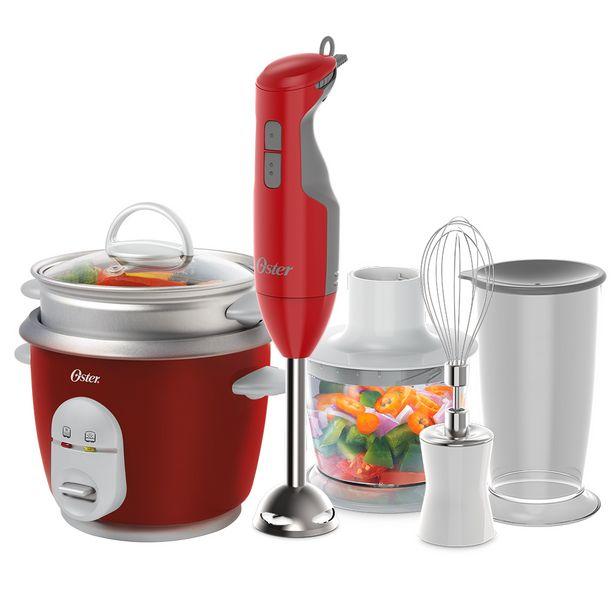 Oferta de Kit Mixer Delight Vermelho e Panela Facile Oster por R$349,9