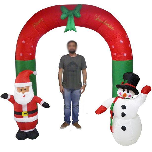 Oferta de Papai Noel Natal Boneco de Neve Inflavel Em Arco 2 Metros e 30 Cm Natalino por R$554,3