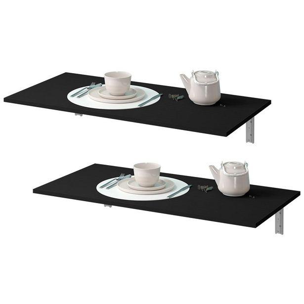 Oferta de Kit 02 Mesas Dobráveis de Parede Cozinha Slim Suspensa 90x45 BP Preto Fosco - Lyam Decor por R$329,9