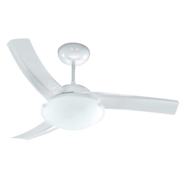 Oferta de Ventilador de Teto Sublime 130W de Potência, 3 Pás, 3 Velocidades Com Luminária Branco - Venti -Delta por R$259