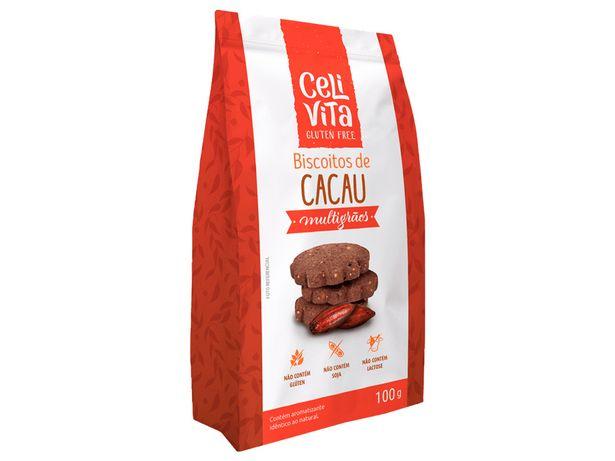 Oferta de Biscoito de Cacau Multigrãos Sem Lactose Celivita 100g por R$18,49