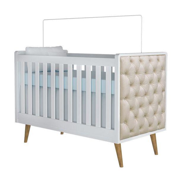 Oferta de Berço Com Capitonê Lorena Carolina Baby Branco por R$899