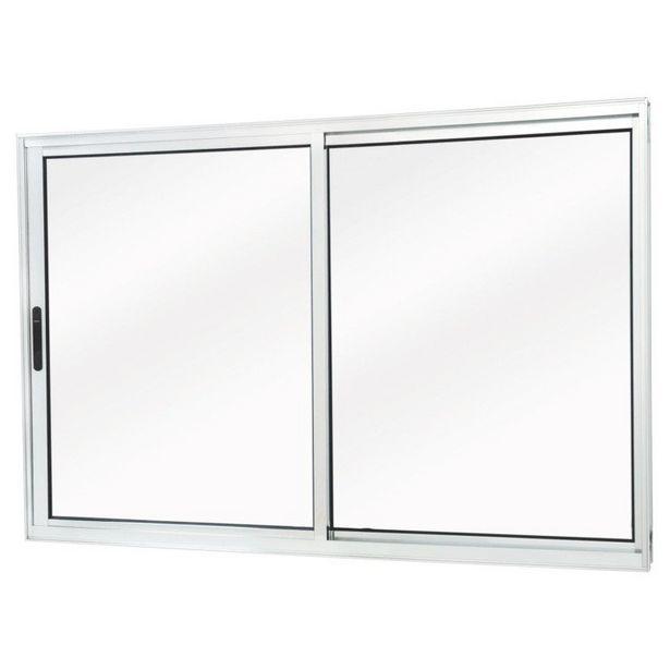 Oferta de Janela de Correr Alumínio 2 Folhas Móveis MGM Sólida 100cmx100cm Vidro Mini Boreal Branco por R$809,9