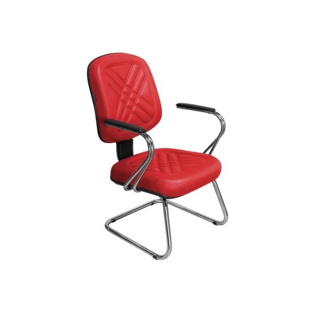Oferta de Cadeira de Escritório Cromos PD-04SCBC Diretor Fixa Vermelha - Pethiflex por R$1039,9