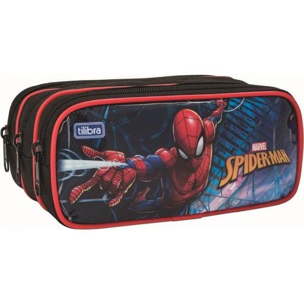 Oferta de Estojo Escolar Spider Man Triplo Tilibra 148903 por R$56,9