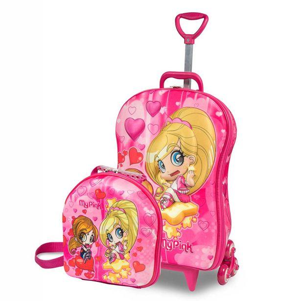 Oferta de Kit My Pink em EVA termoformadas em 3D, Mochilete c/ 3 rodas de cada lado, Alças de Mão e Retrátil, Acompanha Lancheira Rosa e Amarelo - Maxtoy por R$199