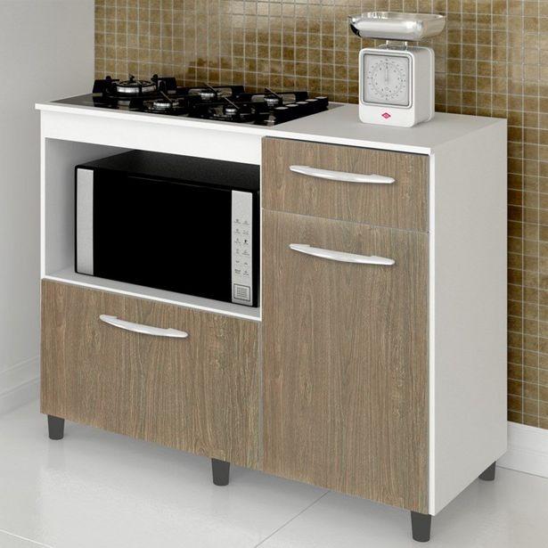 Oferta de Balcão Multiuso Cooktop e Forno Microondas Mali Branco/Carvalho - Lumil Móveis por R$379,08