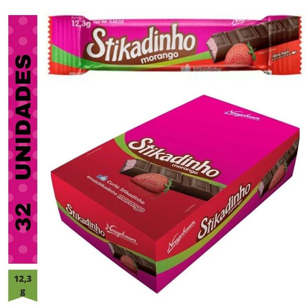 Oferta de Pack Com 32 Unidades Chocolate Stikadinho Morango 12,3g Neugebauer por R$27,9
