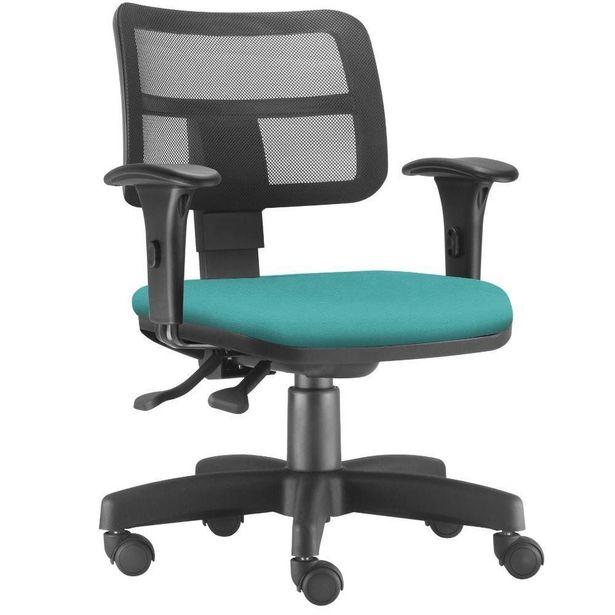 Oferta de Cadeira Giratória Zip Executiva Ergonômica Escritório Couro Sintético Turquesa - Lyam Decor por R$699,9