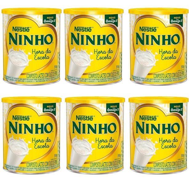 Oferta de Kit 06 Unidades Leite Ninho Nestlé Hora Hora Da Escola 350g por R$159,9