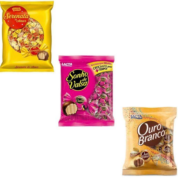 Oferta de Kit Bombom Chocolate Sonho de Valsa + Ouro Branco + Serenata de Amor por R$134,5