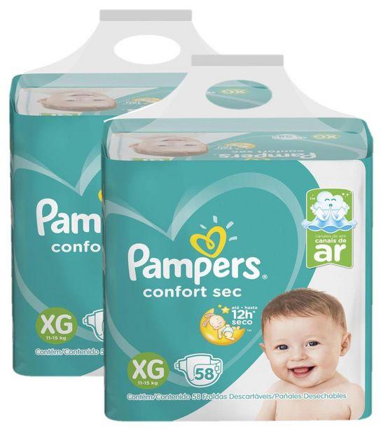 Oferta de Kit 2 Fraldas Pampers Confort Sec Nova Super Tamanho XG 116 Unidades por R$153,97