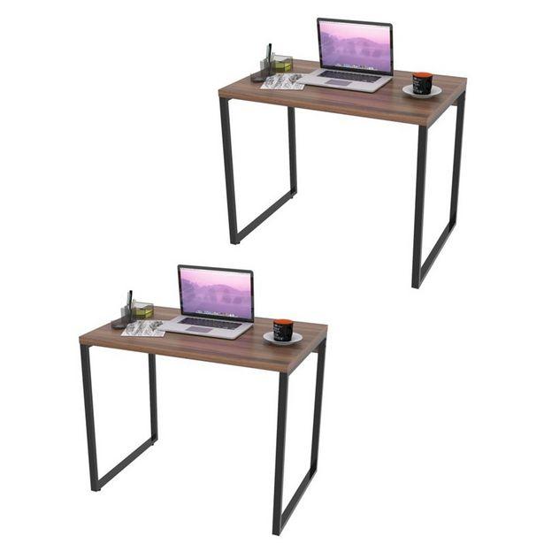 Oferta de Kit 2 Mesas de Escritório Office 90Cm Estilo Industrial Prisma Nogal - Mpozenato por R$561,9