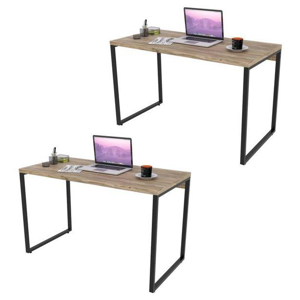 Oferta de Kit 2 Mesas de Escritório Office 120Cm Estilo Industrial Prisma Carvalho - Mpozenato por R$627,9
