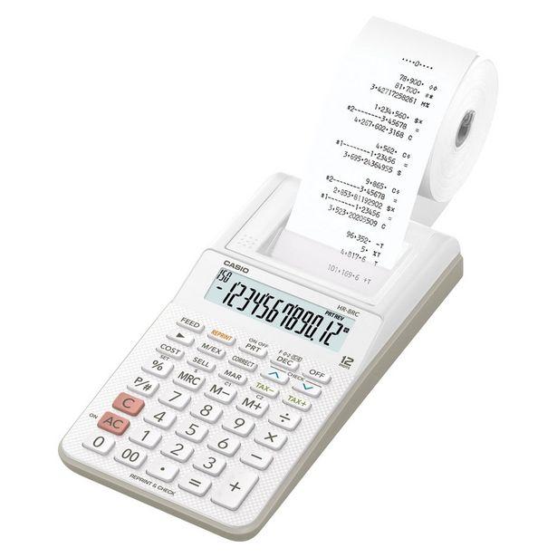 Oferta de Calculadora 12 Dígitos Com Bobina Branca Hr-8Rc-Bk-B-Dc Casio por R$189,9