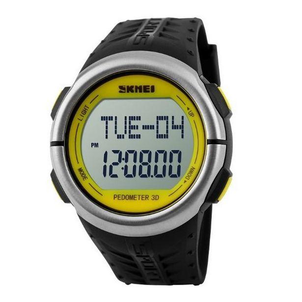 Oferta de Relógio Pedômetro Unissex Skmei Digital 1058 - Preto e Amarelo por R$77,98