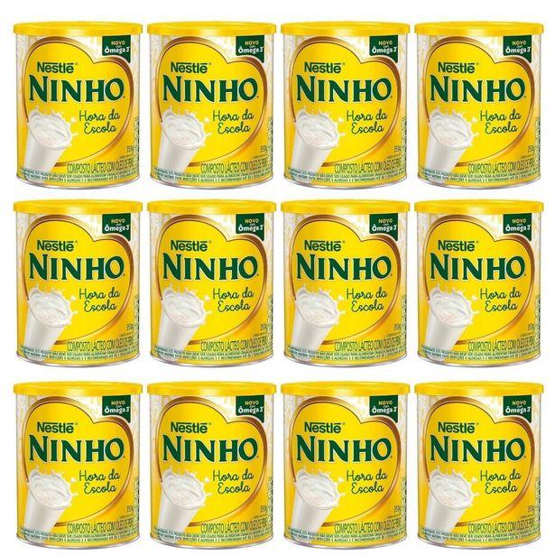 Oferta de Kit 12 Latas Leite Ninho Nestlé Hora da Escola 350g por R$279