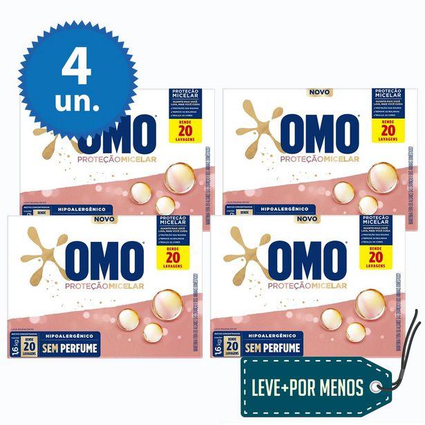 Oferta de Leve Mais Pague Menos: Detergente Em Pó Omo Proteção Micelar 1.6Kg - 4 Unidades por R$51,6