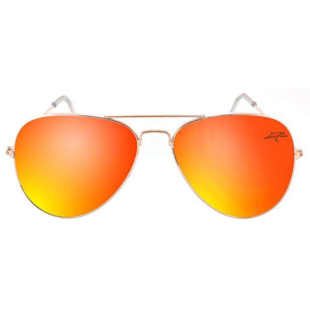 Oferta de Óculos de Sol Aquamarine Aviador Laranja, Lentes em Policarbonato, Haste em metal, Com proteção UV por R$29,9