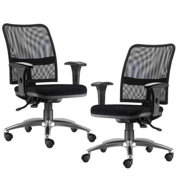 Oferta de Kit 02 Cadeiras de Escritório Executiva Giratória Soul Cromado Linho Chumbo - Lyam Decor por R$1749,9