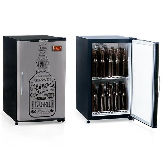 Oferta de Cervejeira Vertical Gelopar 112 Litros Inox/Preto - GRBA-120GW por R$2799,9