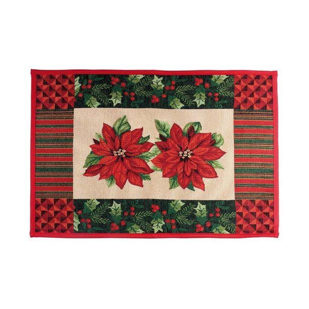 Oferta de Tapete Poinsettia E Listras Decoração Natal 48X69Cm Vermelha por R$69,9