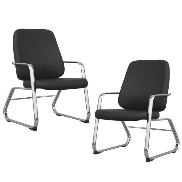 Oferta de Kit 02 Cadeiras Executiva Diretor Base Fixa Cromado Maxxer Couro Ecológico Preto - Lyam Decor por R$3899,9