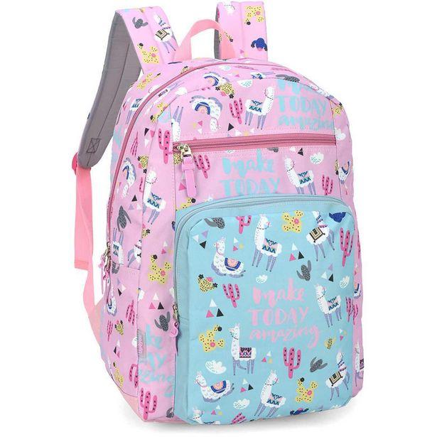 Oferta de Mochila Escolar Up4 You Grande 2 Bolsos Pink por R$129,9