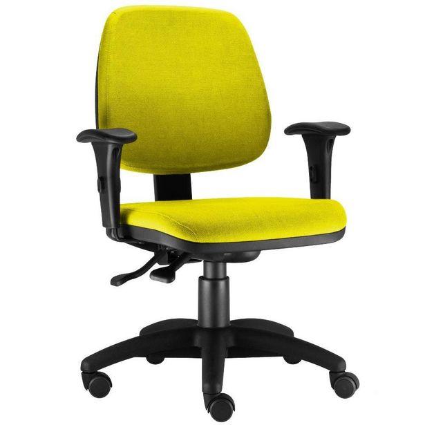 Oferta de Cadeira Giratória Job Executiva Ergonomica Escritório Suede Amarelo - Lyam Decor por R$599,9