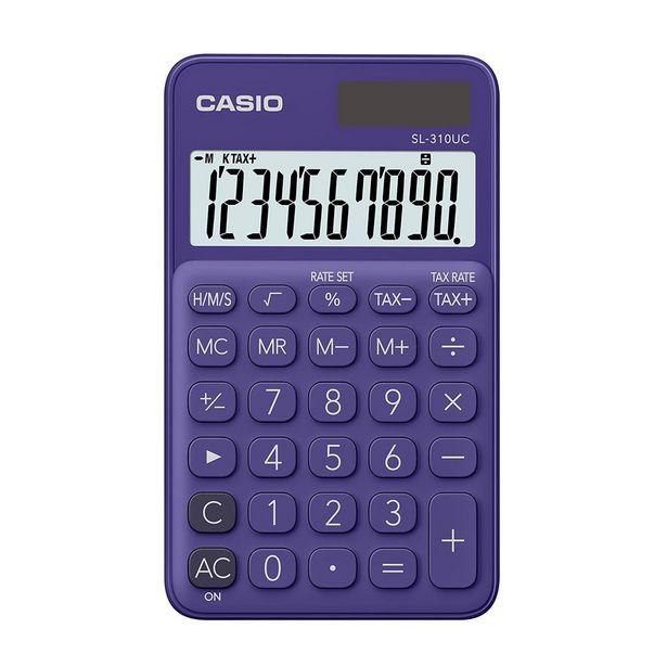 Oferta de Calculadora Portátil Casio C/ Visor Amplo 10 Dígitos e Alimentação Dupla Roxa por R$49,9