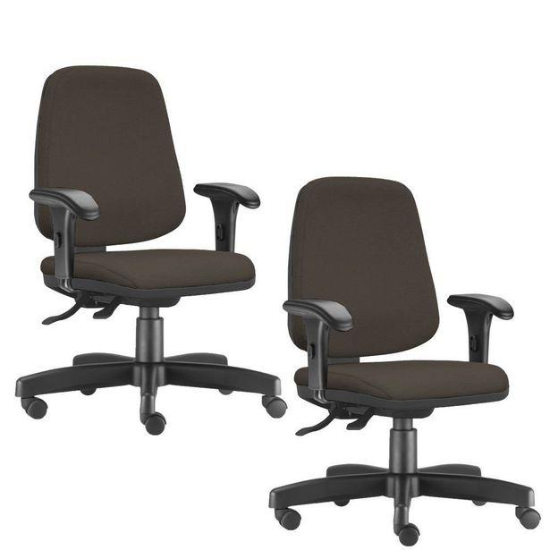 Oferta de Kit 02 Cadeiras Giratórias Job Diretor Executiva Suede Marrom - Lyam Decor por R$1299,9