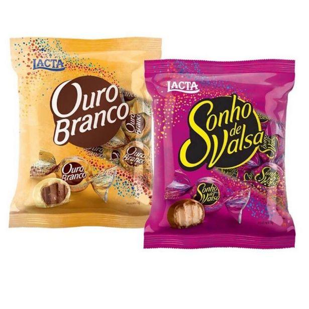 Oferta de 01 Pacote Chocolate Bombom Sonho de Valsa + 1 Pacote 1 Ouro Branco de 1Kg por R$95,4